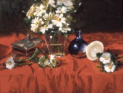 Red Tablecloth with Daisies